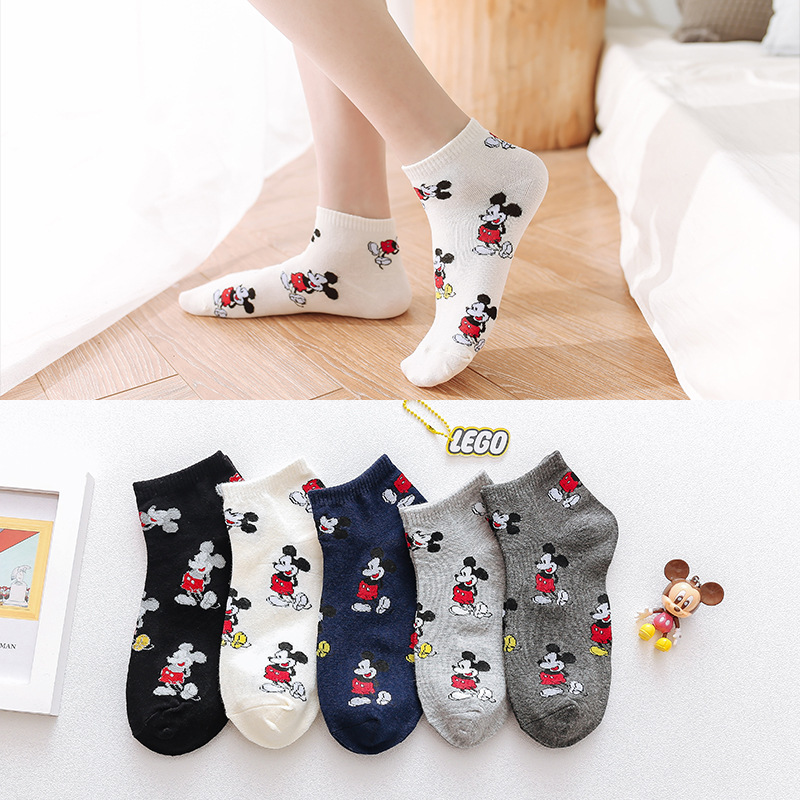 10 pieces = 5 pairs of new cute Korean version of the cartoon women's cotton   socks   fashion casual Mickey Mouse happy   socks