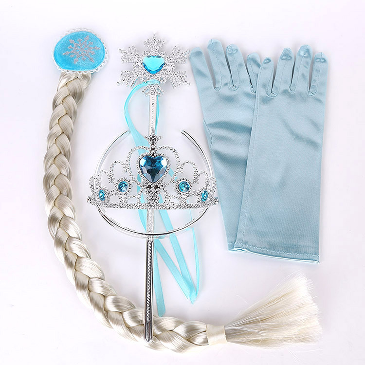 Frozen 2 Children Toy Crown Wig Braid Magic Stick Girl Toy For Kids Photo Props Elsa Princess Gloves Set 4 Pieces Birthday Party
