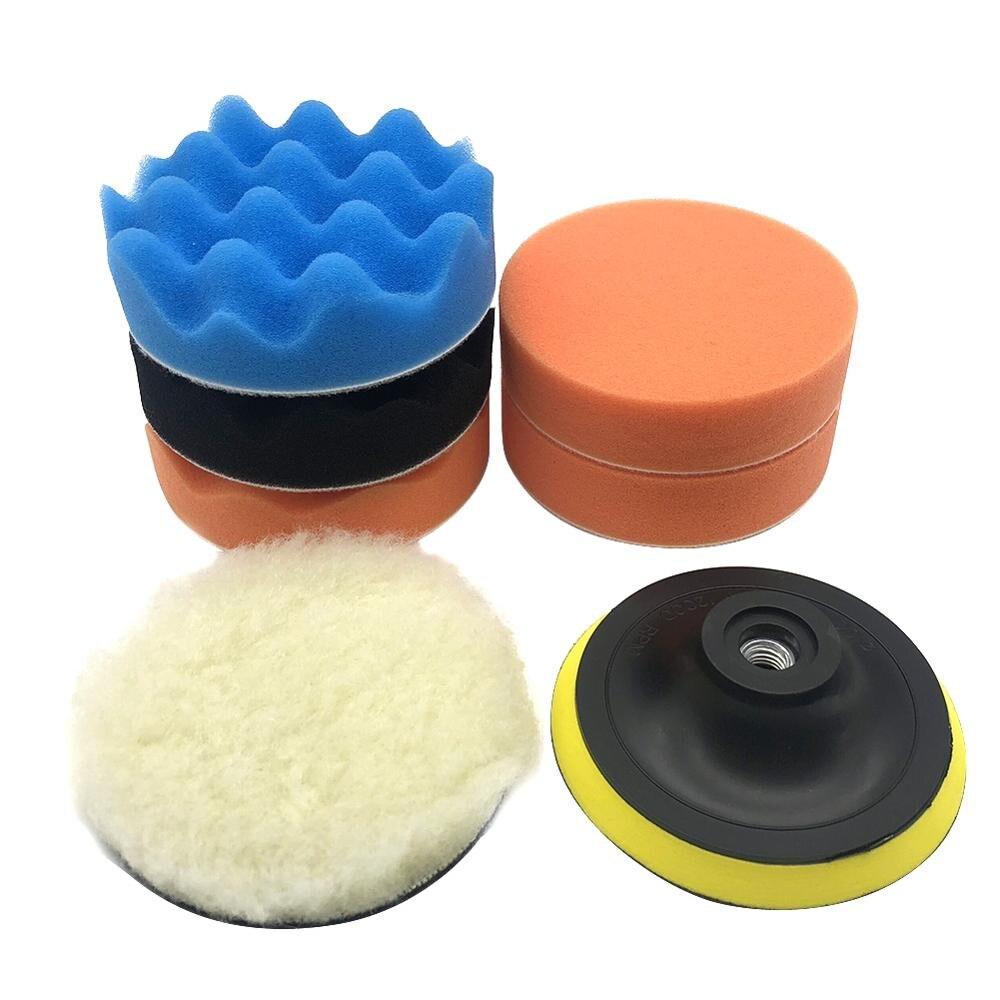7pcs  Car Polishing Pad Foam Compound M14 Power Tools Accessories Auto Clean 4 Inch Drill Adaptor Waxing Set Sponge