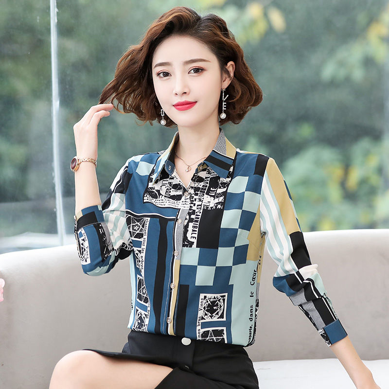 Women's Spring Summer Style Chiffon Blouses Shirts Women's Printed Button Turn-down Collar Printed Casual Tops SP567 8