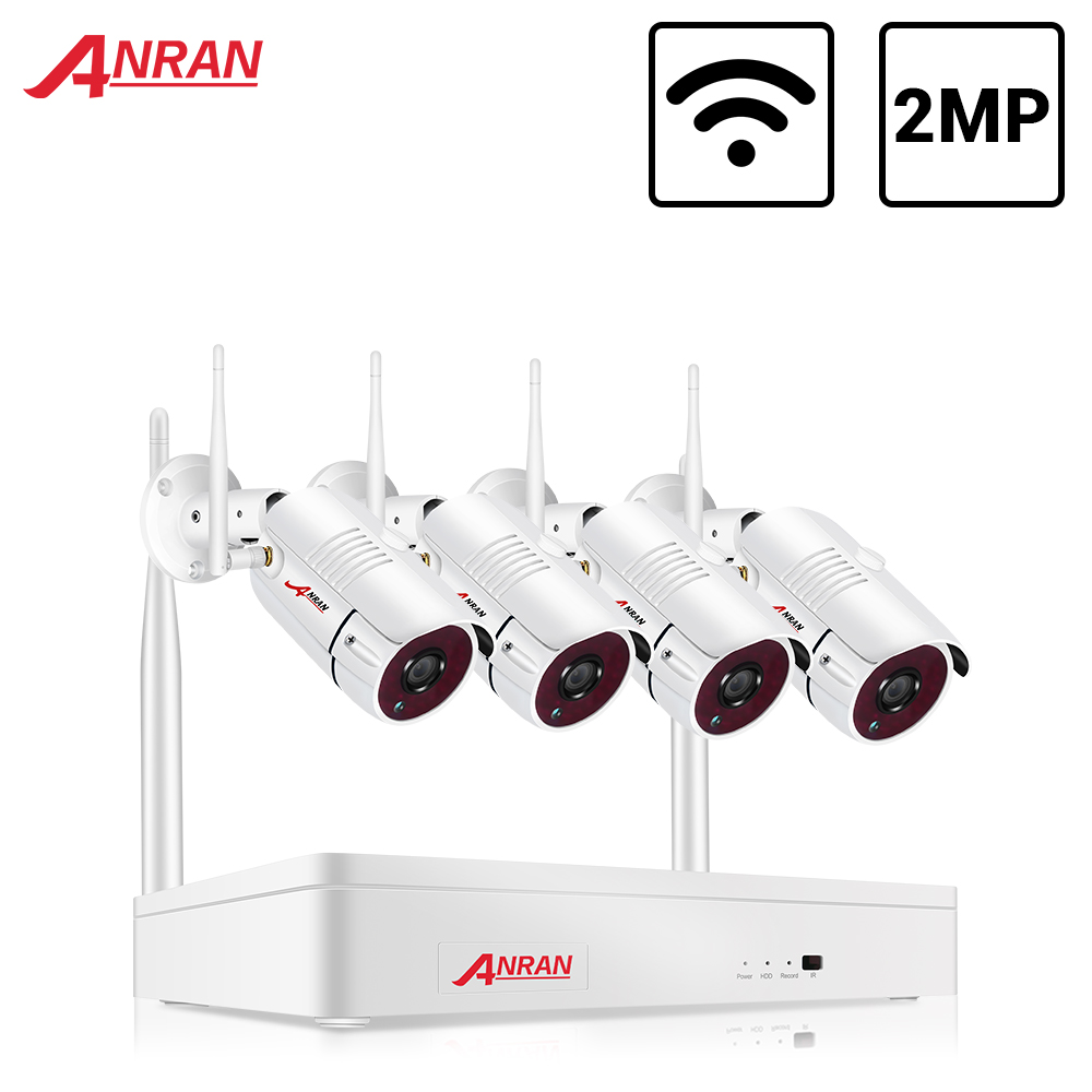 ANRAN Wireless 2MP CCTV Wireless System NVR Kit Outdoor P2P Wifi IP Security Camera Set Video Surveillance Kit Night Vision