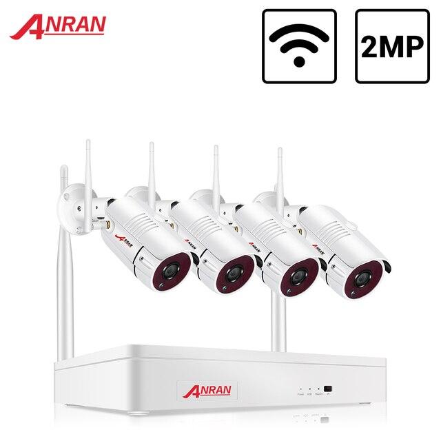 ANRAN Wireless 2MP CCTV Wireless System NVR Kit Outdoor P2P Wifi IP Security Camera Set Video Surveillance Kit Night Vision