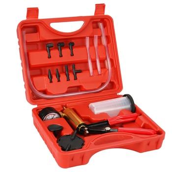 17pcs Universal Car Auto Hand Held Vacuum Pressure Pump Brake Bleeder Adaptor Fluid Reservoir Tester 2 in 1 Tool Vacuum Tester
