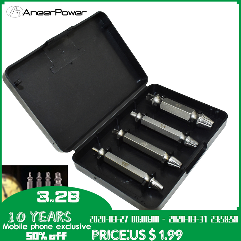 4pcs Damaged Screw Take Out Tear Down Tools Screwdriver Broken Screw Extractor Sliding Teeth 2 Head Bolt Extractor Drill Bit