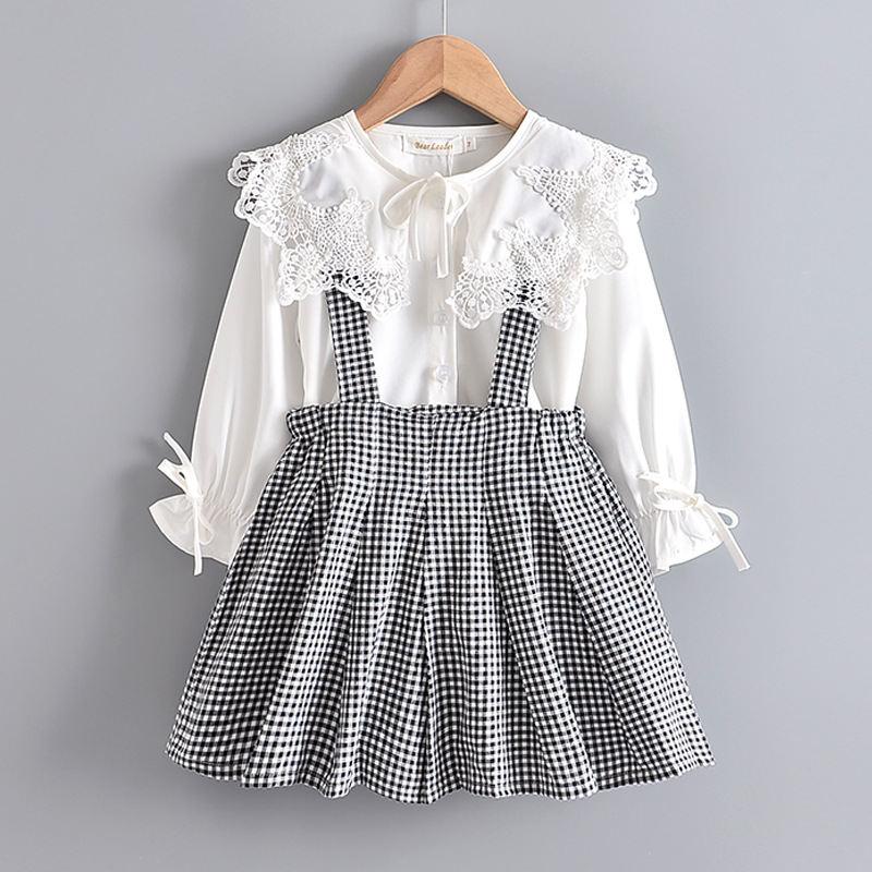 Dziewczęce ubrania koronkowa koszula + spódnica na szelkach dla dzieci sukienka bawełniana z długim rękawem sukienki dla dziewczynek 3-7 lat wiosna jesień dzieci sukienka