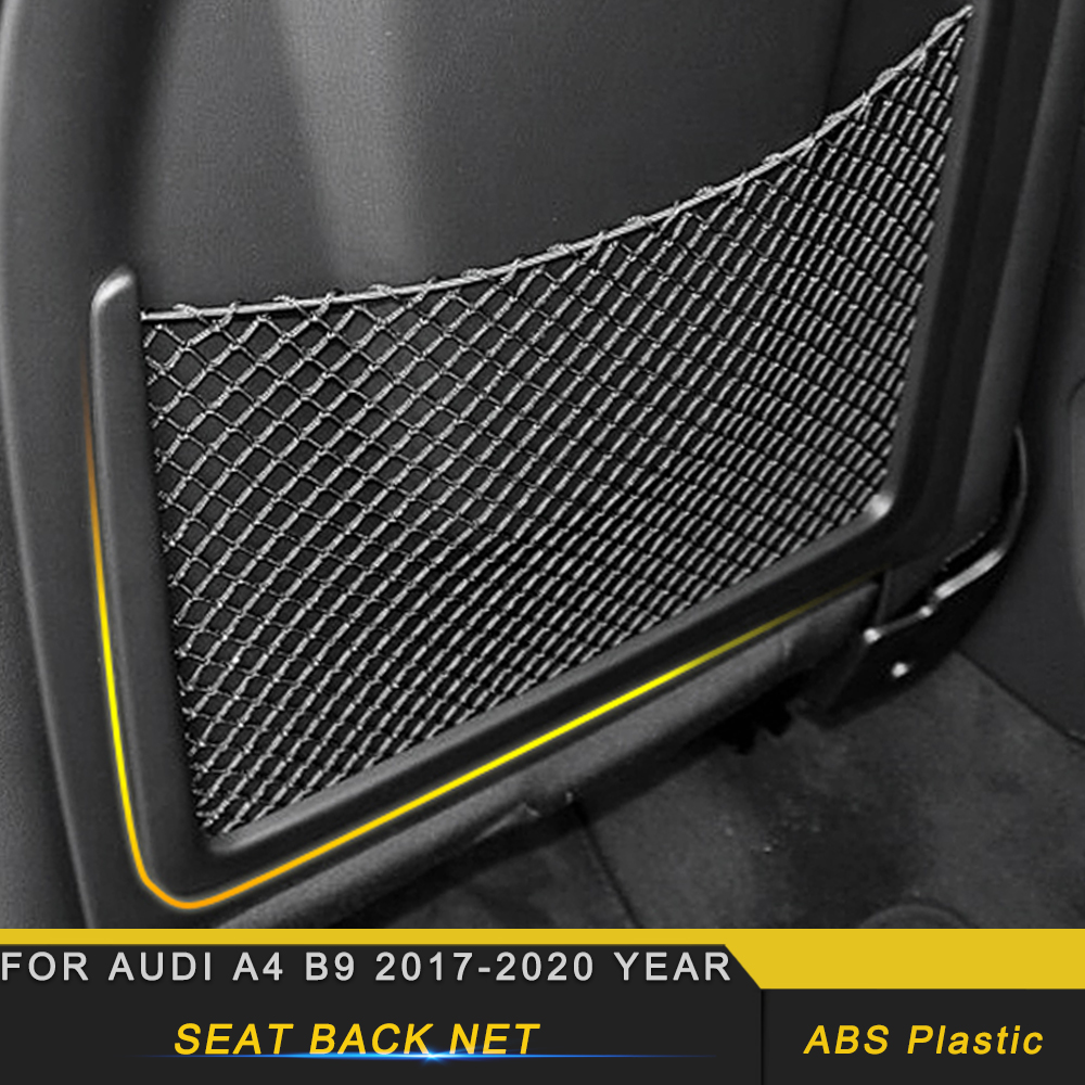 Car Interior Accessories Rear Seat Back String Net Mesh Storage Bag Pocket Automobile Organizer for Audi A4 B9 2017-2020 image