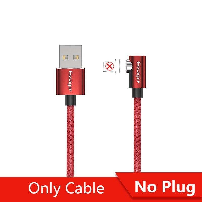 Магнитный кабель магнитная зарядка Essager Micro usb type C кабель для samsung Oneplus iPhone зарядное устройство магнит быстрый заряд кабеля USB C type-C шнур провода - Цвет: No Plug Only Cable R
