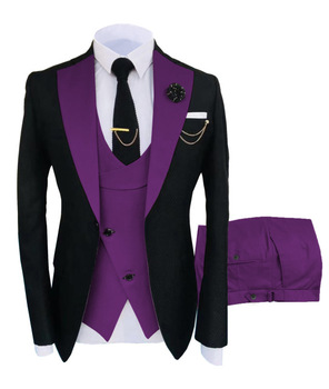 New Costume Slim Fit Men Suits Slim Fit Business Suits Groom Black Tuxedos for Formal Wedding Suits Jacket Pant Vest 3 Pieces 7