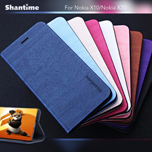 Wood grain PU Leather Case For Nokia X10 Flip Case For Nokia X20 Business Phone Bag Case Soft Silicone Back Cover