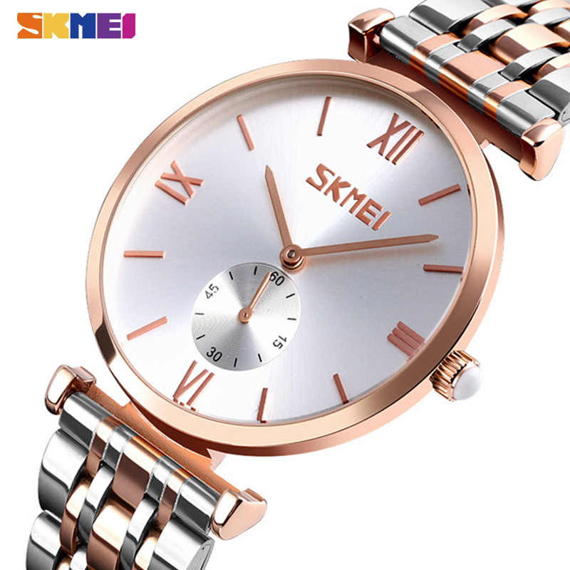 SKMEI moda kuvars saatler Mens bayanlar çift kol saatleri basit paslanmaz çelik kayış erkekler kadınlar İzle saat reloj homb 9198