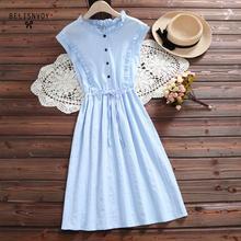Mori Girl Vestidos Vintage De verano para mujer, Vestidos elegantes con volantes y cuello redondo, sin mangas De algodón y lino