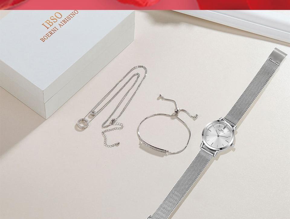 Ensemble bijoux Femme montre cristal Design Bracelet collier 15