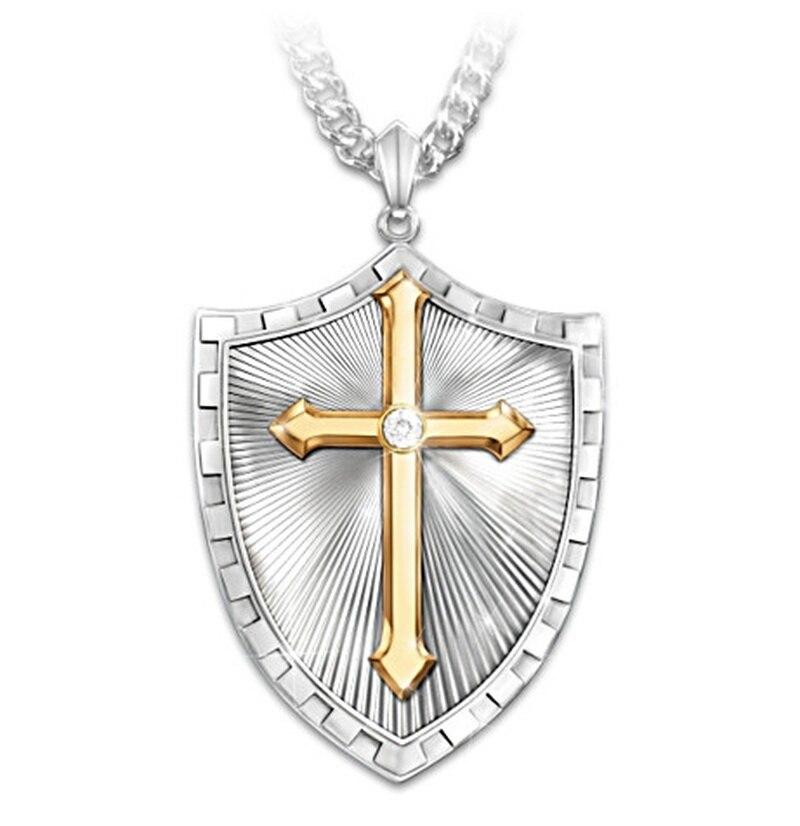 Ретро популярный крест щит циркониевый кулон унисекс Мода темперамент в стиле «хип-хоп» ожерелье ювелирных изделий в виде сувениры оптом