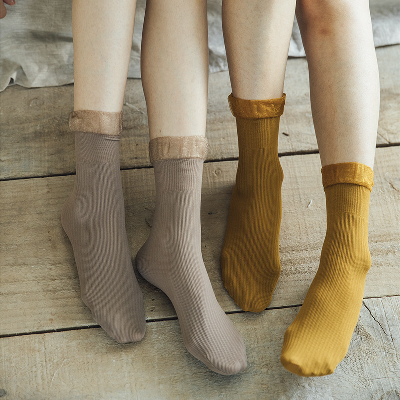 Fashion Women's Socks 1 Pair 2019 Autumn Lace Solid Color Stripes Breathable Deodorant Brief Comfortable Socks Women Korea Style
