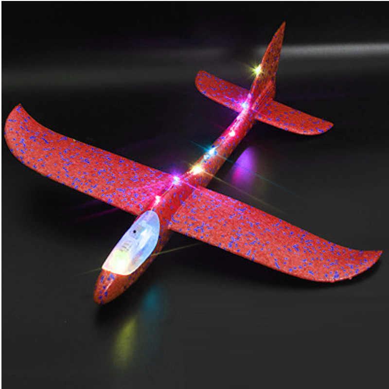 35cm DIY zabawki dla dzieci ręcznie rzut latające szybowiec samoloty pianki samolot Model Party blask w ciemności latający szybowiec samolot zabawki dla dzieci