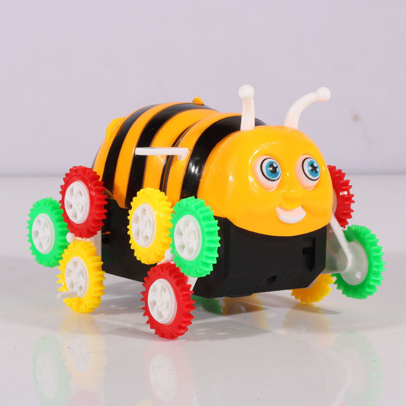 Hot Selling Small Bee Dump Truck Somersault Toy E-Bike Automatic Flipping Stall Hot Selling Night Market Toy
