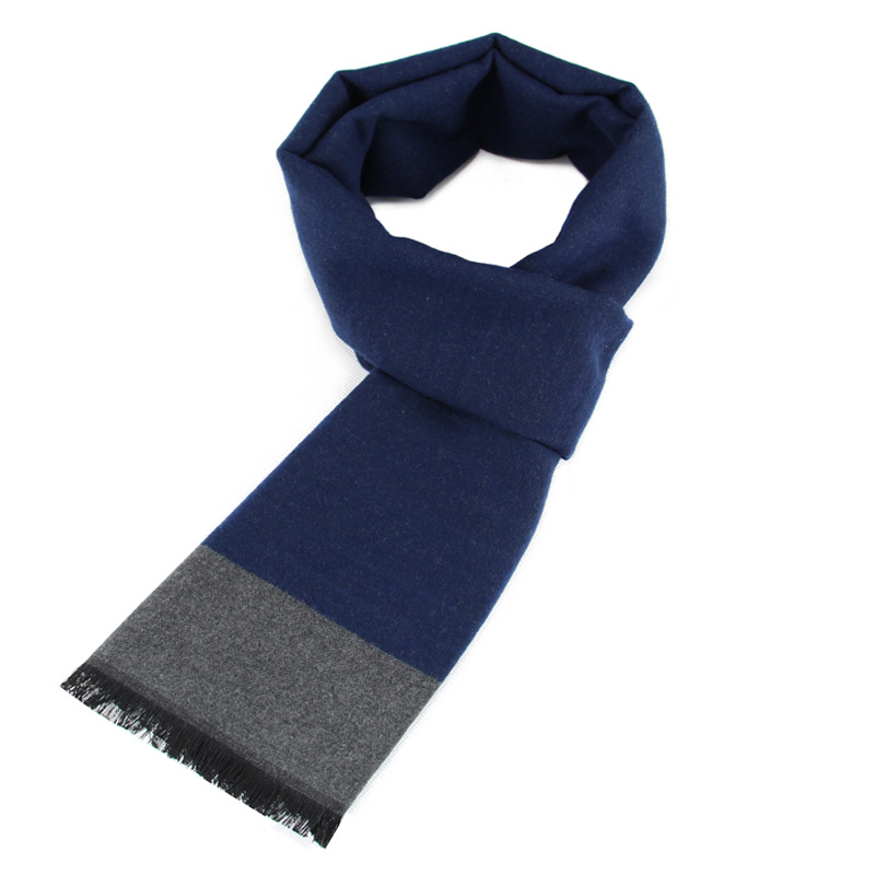 Scarf Factory Middle-aged MEN'S Scarf Winter Thick Warm Faux Cashmere Scarf Manufacturers Wholesale Customizable