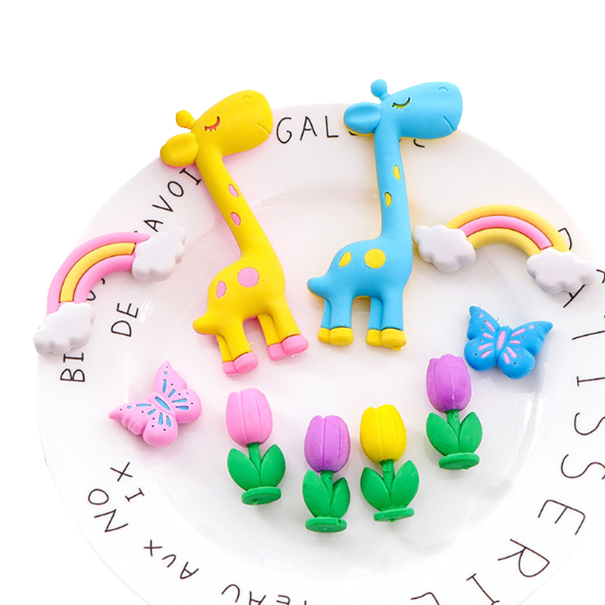 5pcs/pack Cartoon Korean Style Giraffe Rainbow Flower Eraser Cute Stationery School Student Supplies Gift