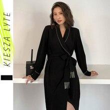 Блестящие винтажные черные шифоновые пояса женское платье с запахом с длинным рукавом элегантные вечерние платья 2021 весна осень Женская од...