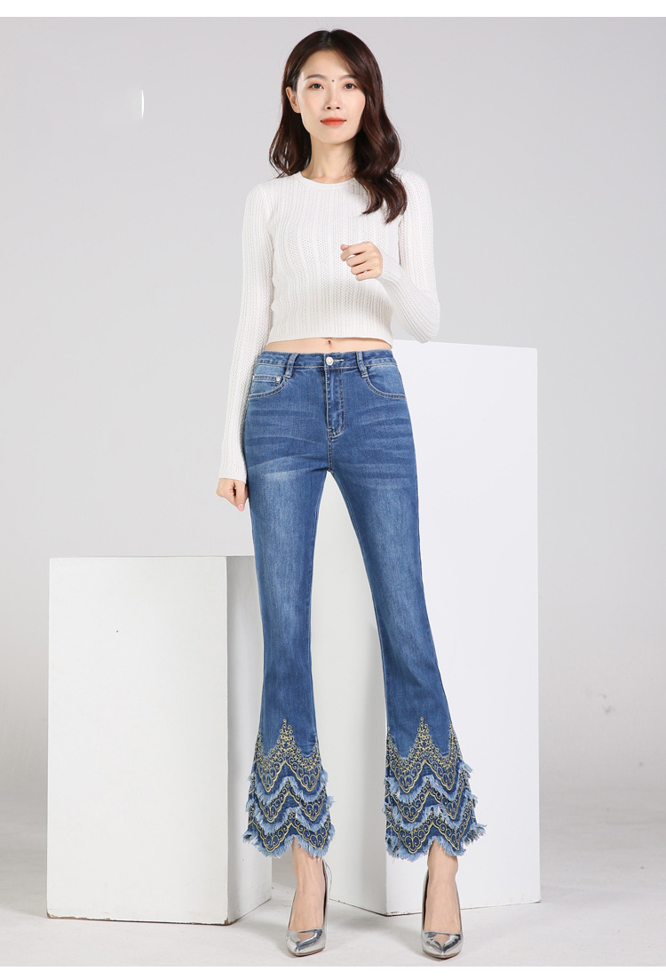 KSTUN FERZIGE Women's jeans brand stretch hight waist blue embroidered bootcut denim jeans flares slim fit women trousers large size 4
