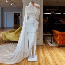 Новое поступление, блестящее белое вечернее платье на одно плечо, шифоновое облегающее платье с бисером и перьями, полная длина, для турецкого и арабского