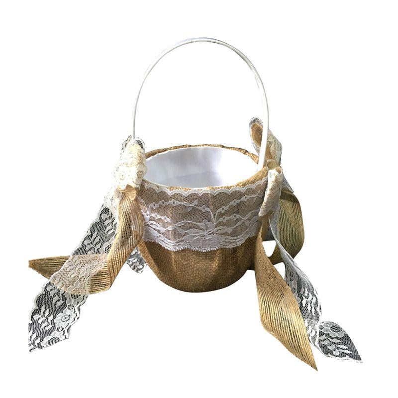 Свадебные цветочные корзины для девочек, ручки для винтажной цветочной корзины для свадебной церемонии, вечерние корзины QM8047 [ - Цвет: D