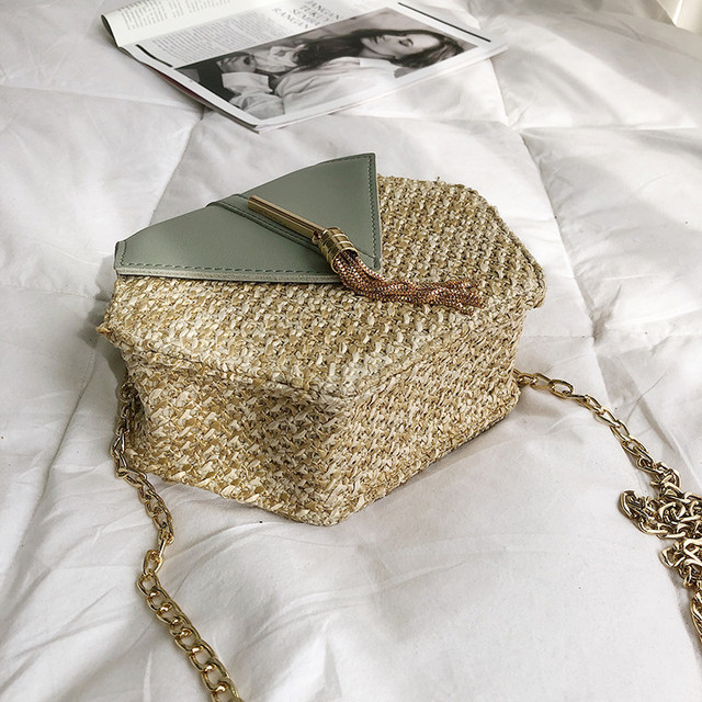 Hexagon Mulit Style Straw+leather Handbag Women 4