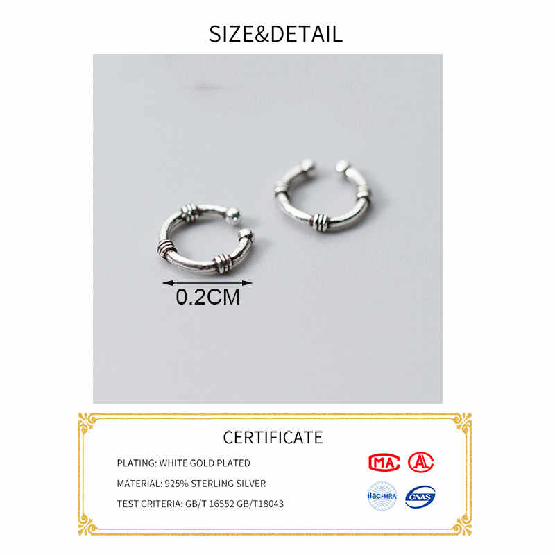 Inzatt Nyata 925 Sterling Silver Minimalis Geometris Bulat Anting-Anting Klip untuk Wanita Pesta Vintage Perhiasan Hadiah 2019