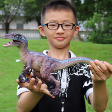 One Piece Jurassic Simulation Solid Blue / Red Dinosaur Model Plastic Large Raptor Children's Toy(China)