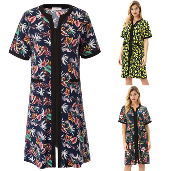 Summer Women Robes Clothes Zip-up Lounge Wear Sleep Dress Nightgown With Pocket Floral Pattern Loose Knee Length Home Nightdress