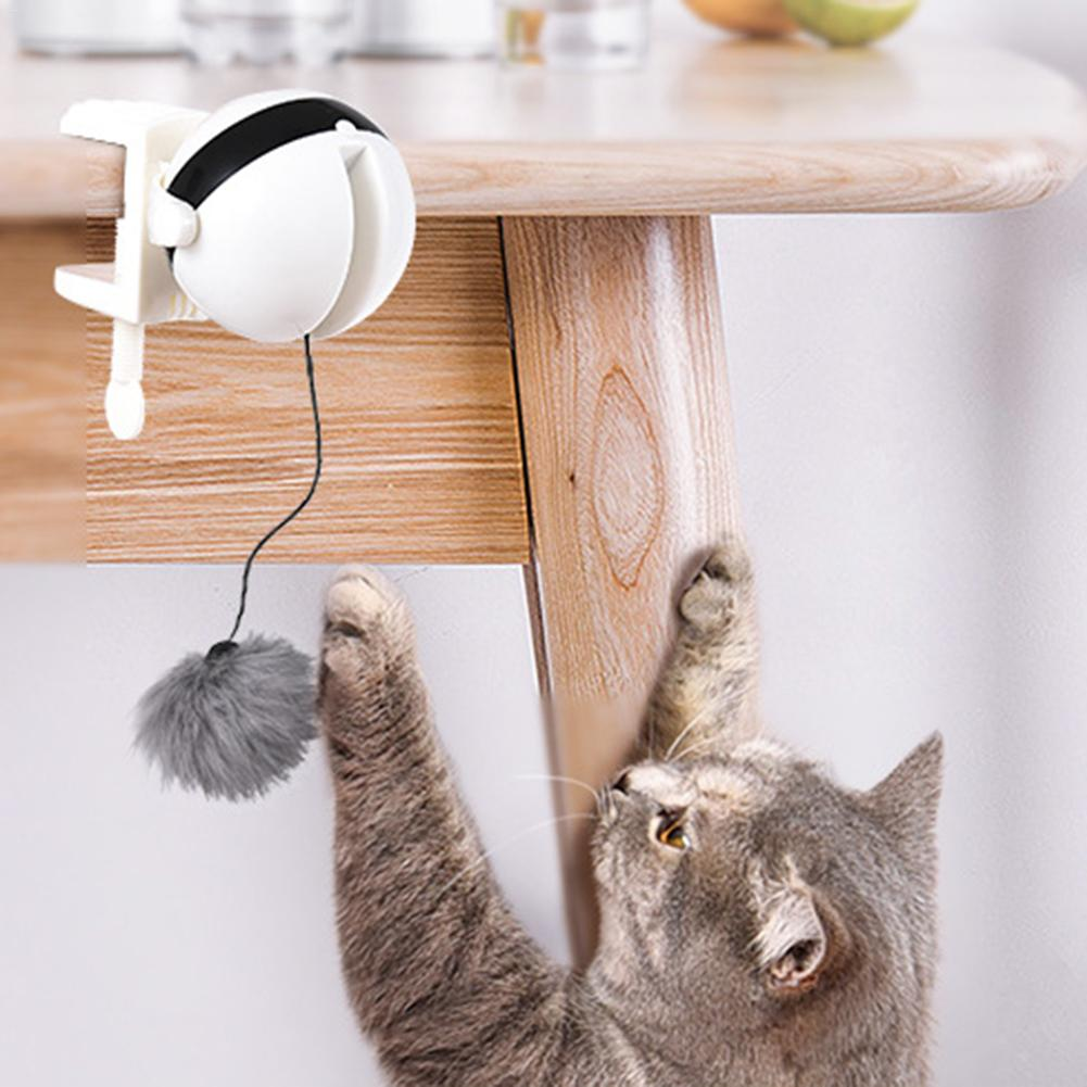OURLITIME Cat Indoor Automatic Teaser Toy Cat Teaser Toy Yo-Yo Lifting Ball Electric Flutter Rotating Interactive Puzzle Smart Pet Cat Ball Toy