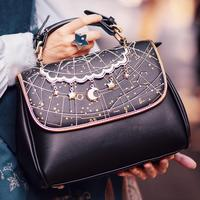 Fashion women bag vintage constellation embroidery soft PU handbag bags for women 2020 zipper hasp flap shoulder bag cosplay