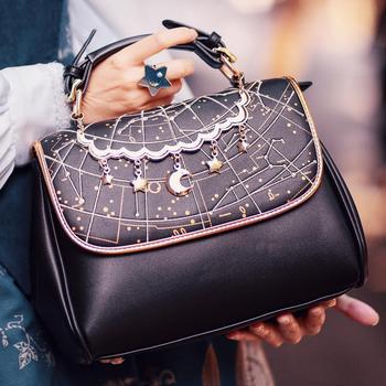 Fashion women bag vintage constellation embroidery soft PU handbag bags for 2020 zipper hasp flap shoulder cosplay