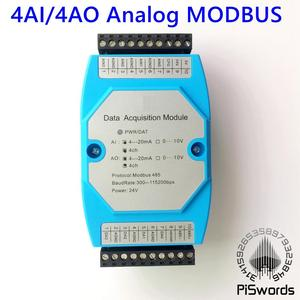 Analog Input and Output Module 4 Channels 12 bit AD/DA Isolated 4AI / 4AO RS485 MODBUS Protocol Communication RS485 to Ethernet(China)
