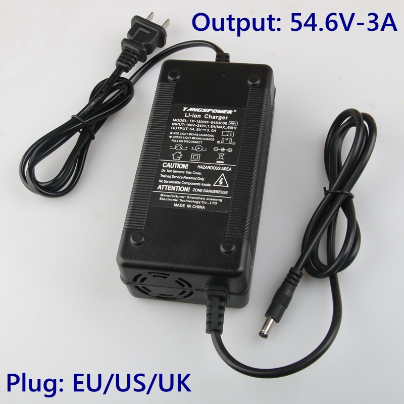 54.6V 3A Battery Charger For 13S 48V Li-ion Battery Electric Bike Lithium Battery Charger High Quality Strong Heat Dissipation