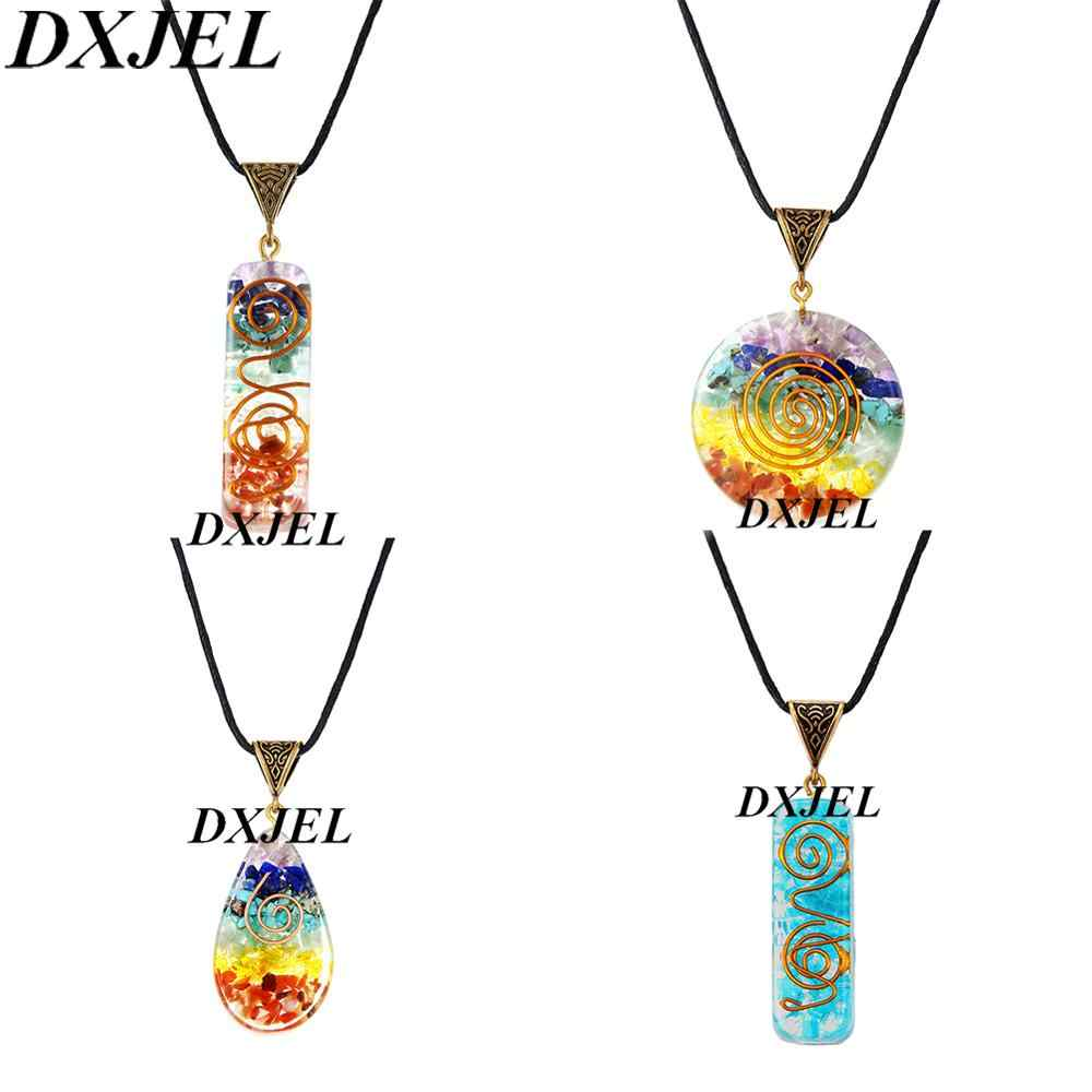 Clear Quartz Crystal Pendant 7 Chakra Healing Stones Necklace for EMF Protection /& Spiritual Healing and Balancing
