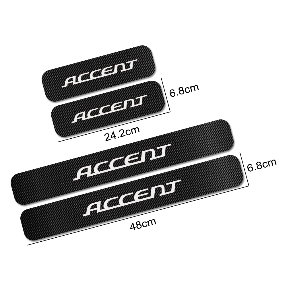 4pcs for Hyundai Accent Auto Threshold Protection Sticker Reflective Carbon Fiber Sticker Decorative Door Entry Guard Door Threshold Scratch Pad Film