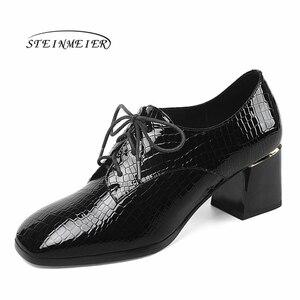 Image 2 - Женские летние туфли на высоком каблуке; модные туфли лодочки из натуральной кожи; весенние туфли на толстом каблуке; женские туфли на каблуке с квадратным носком и шнуровкой; 2020