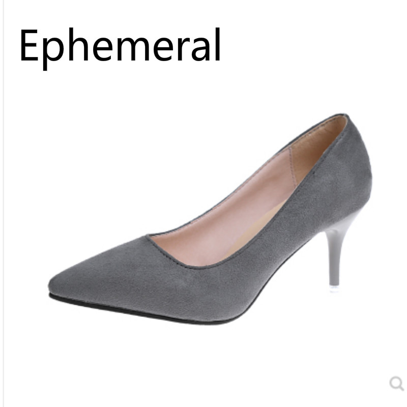 Women Sewing Pumps Grey Black Width Fitting Shoes Stilettos Zapatos Mujer Pumps 17-3 2019 New Arrivals Flock Footwear Thin Heels