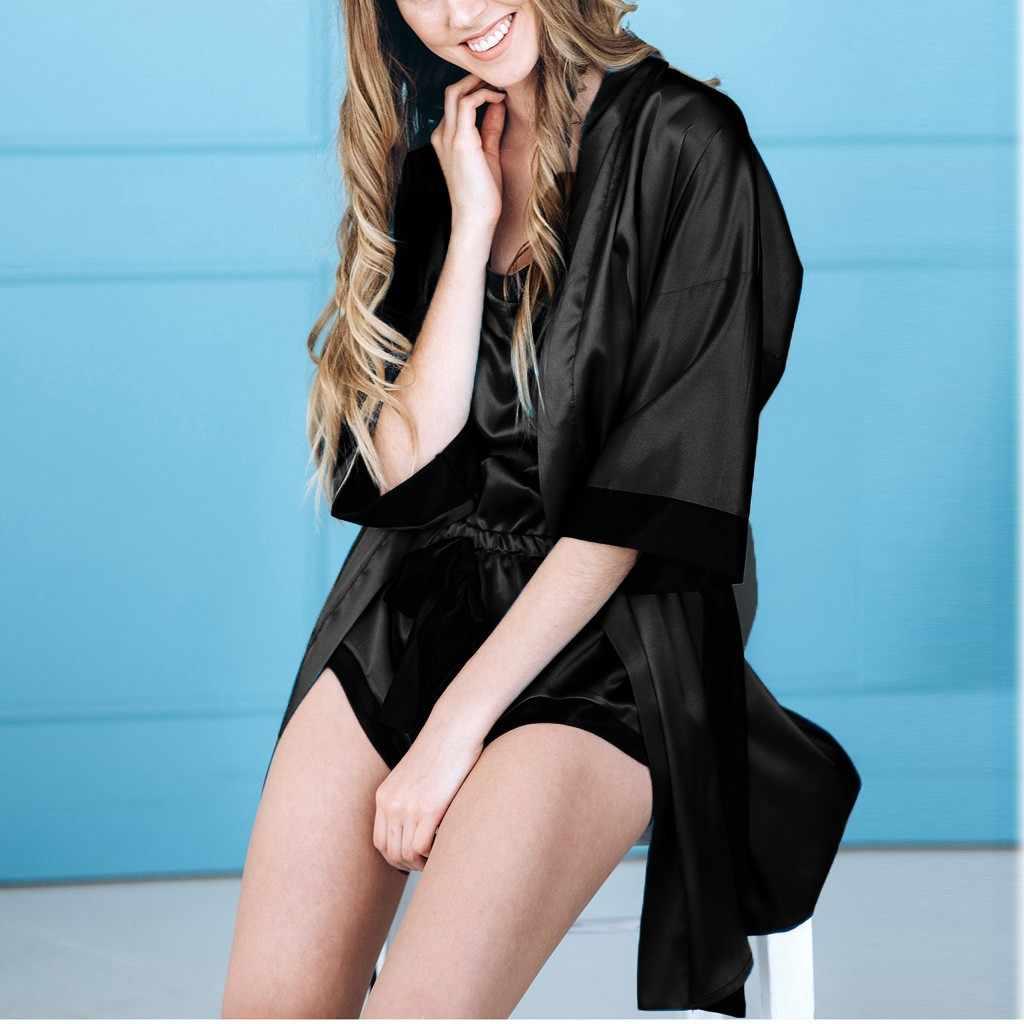 Kadınlar seksi siyah ipek saten Kimono tomurcuk ipek pijama straplez elbise dantel bornoz iç çamaşırı Robe kemer ile pijama pijama