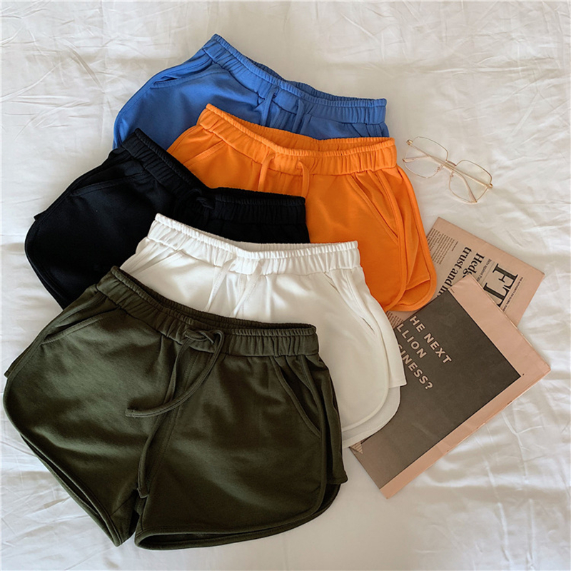 2020 Spring And Summer New Korean Female High Waist Thin Sports Shorts Solid Color Students Wild Casual Chorts