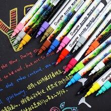 6/12/18/24/kolory akrylowe Marker do malowania zestaw długopisów do ceramiki Rock Glass tkanina z drewna płótno malowanie karty pióro 0.7mm sztuka DIY markery