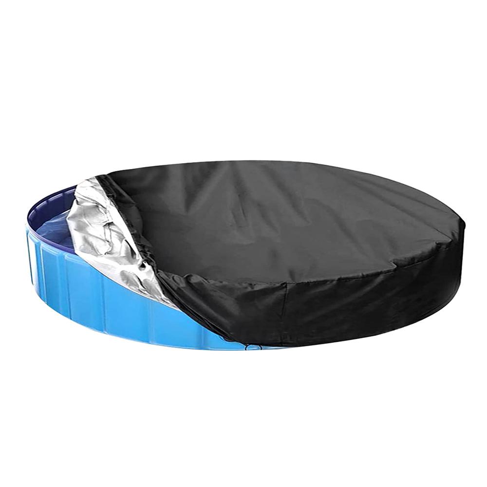 H72b81ce5f21646268f457892dde22fa61 - Round Pool Cover Foldable Black Bathtub Cover 210D Oxford Anti-UV Protector Spa Tub Dust Waterproof Cover Swimming Accessories