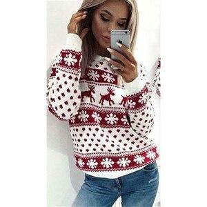 women knit cotton warm Christmas jumper long sleeve pull noel kersttrui femme sweatshirt top knit pullover