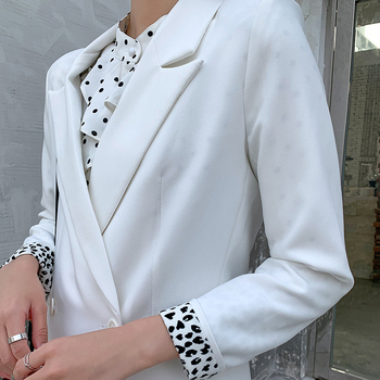Women's Balck White Blazer Jacket Casual Solid Color Double-breasted Pocket Decorative Loose Coat 2020 Office Work Suit Blazer simple casual texture fabric retro decorative buttons commuter loose suit jacket 2019 notched double breasted women jacket coat