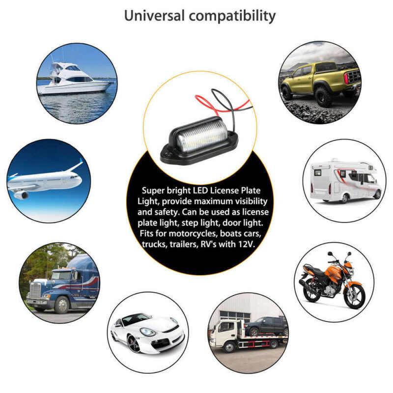 1 זוג רכב 12V LED לוחית רישוי אור שלב מנורת עמיד למים IP65 6-LED סירת משאית קרוואן לבן לוחית רישוי מנורת אבזרים