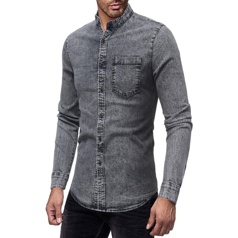 Quality men's casual slim stand collar casual shirt 1
