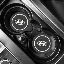 2pcs Car Auto Water Cup Slot Non slip Mat Accessories for Solaris Ix35 I20 I30 I40 HYUNDAI Tucson CRETA Santa Fe Car Accessories
