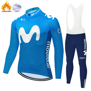 Movistar-Ropa de Ciclismo para hombre, Jersey de manga larga para invierno, transpirable...