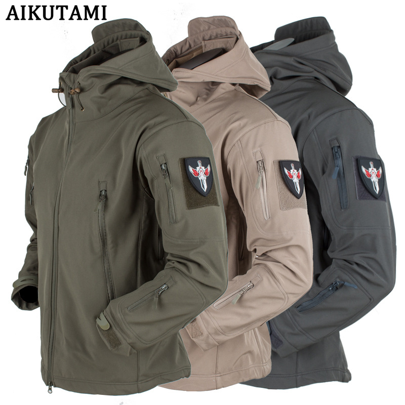 Winter Outdoor Soft Shell Waterproof Jacket Camo Hooded Rain Jacket Ski Tactical Hunting Hiking Jacket Regenjacke Impermeavel